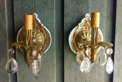 Pair Antique Fancy Brass Electric Wall Light Fixtures with Crystal Prisms 1920's