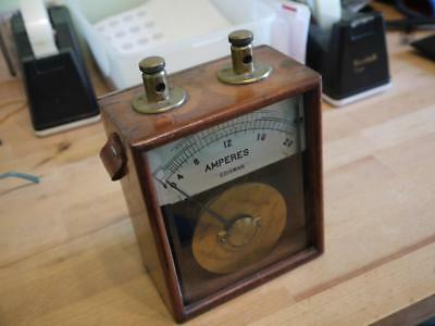 Superb Hardwood Cased Vintage Electric Amperes Ediswan Galvanometer Volt Tester
