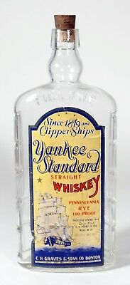 VINTAGE YANKEE STANDARD STRAIGHT WHISKEY - LABEL- 1 PINT BOTTLE - Dated 1934
