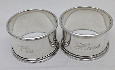 Pair Antique Solid Sterling Silver Engraved His & Hers Napkin Rings