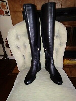 3ca62e7f7 Nib Tory Burch Wyatt Over The Knee Boot Black Leather Stretch 6.5 Sale  180.00