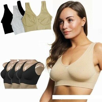 PACK OF 3 Seamless Sports Style Bras Crop Top Vest Comfort Stretch Shapewear bra