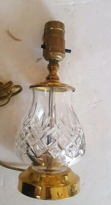 """Waterford Brass & Crystal Accent Lamp Sullivan Cross & Wedge Cut 9.5"""""""