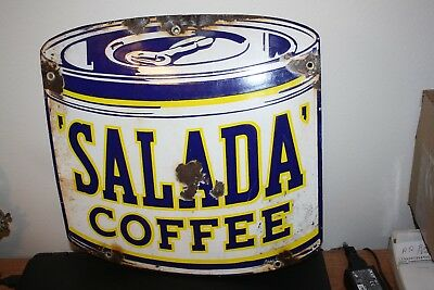 Antique Advertising Sign Porcelain, Salada Coffee, 3 Color, Small Sign