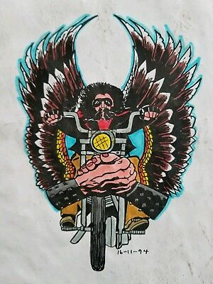 vintage 80s produx biker 1%er rider harley mc tattoo flash colors canada 9x11