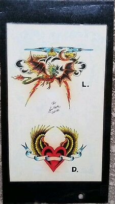 vintage '85 original signed kevie biker dragon tattoo flash heart wings fantasy