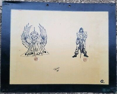 vintage '82 original kevie biker 1%er tattoo flash skull viking gambler badass