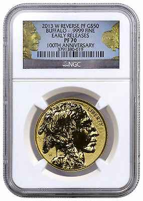 2013 W $50 1 Oz Gold Buffalo Reverse Proof NGC PF70 ER Buffalo Label SKU39353