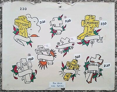 vintage ragged old S&R huck production tattoo flash cross memory kevie color
