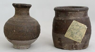 Two Authentic Chinese Song Stoneware Ceramic Brown Glaze Vessel and Jarlet