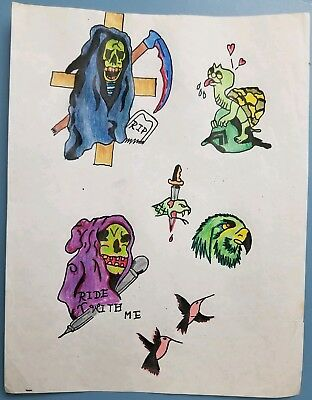 vintage 80s produx biker 1%er skull reaper turtle tattoo flash color canada 8x11