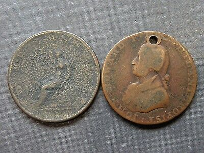 Colonial Coins Two Coppers 1794 Half Penny Antique Ancient Lot Collectible Moon