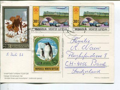 Mongolia picture post card to Switzerland 1982
