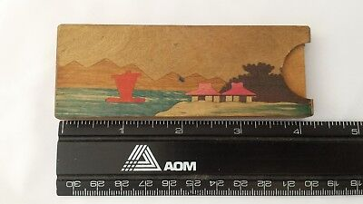 Vintage Japanese Toy Inlaid Wood Box Hidden Coin Trick Occupied Japan