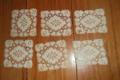 6  vintage hand made doilies lace  beige