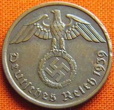 Wwii German 1939 - A 2 Reichspfennig 3Rd Reich Bronze Nazi Germany Coin (Wc2161)