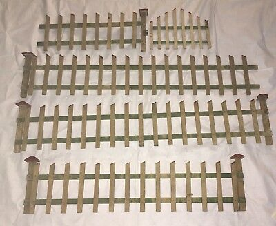 Vintage Folk Art Handmade Wooden Christmas Tree Fence