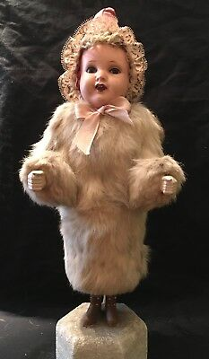 Vintage Large German Snow Angel Figure Rabbit Fur Coat