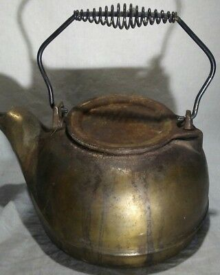 Vintage Antique Brass Plated Cast Iron Coil Handled Rustic Tea Pot Tea Kettle