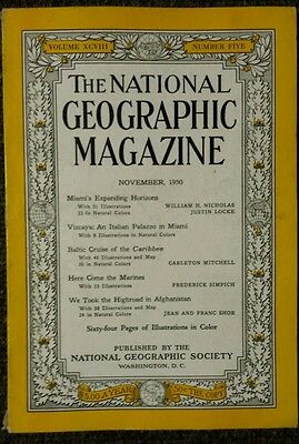 National Geographic magazine November 1950 Miami's Expanding Horizons, Afghanist