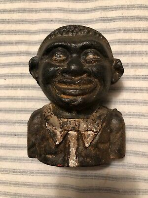 """Antique Black Americana """" The Young N.....r Bank """" Cast Iron Still Bank"""