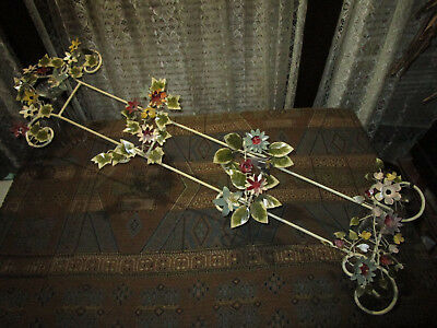 French Country Toleware Metal 3 Tier Wall Hung Shelf Ornate Flowers & Vines