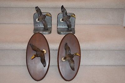 Vintage Cast Iron Duck Book Ends & 2 Wall Plaques, Whitehall Metal Studios
