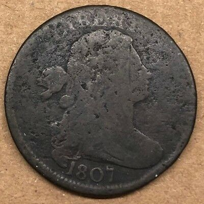 1807 Draped Bust Large Cent 1c Coin, GOOD, Small Date!