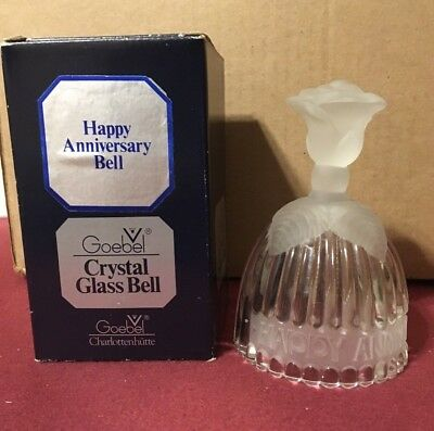 Goebel Crystal BELL Happy Anniversary Frosted Floral ROSE Design Germany 1978