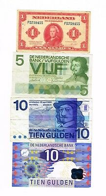 4 x Netherlands bank notes : 1943 - 1997 : 26 Gulden face value
