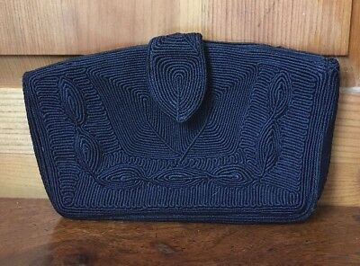 Vintage Genuine Corde Black Dark Navy Blue Clutch Evening Handbag Purse Soutache
