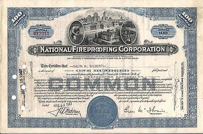 National Fireproofing Corporation - NATCO stock certificate 1950s 100 shares