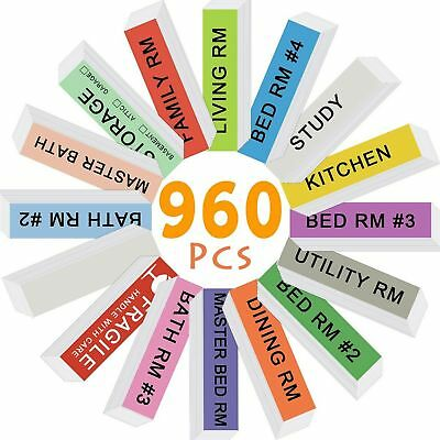 Home Moving Labels, 960 Count Color Coding Labels Moving Stickers for Bed... New