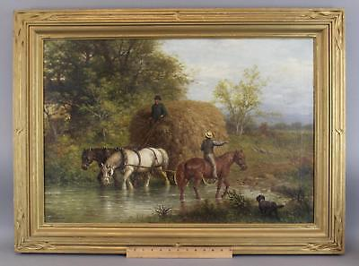 Lrg Antique GEORGE REICKE American Country Farm Hay Wagon & Horses Oil Painting