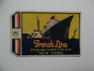 1835 FRENCH LINE Luggage Tag CTG Pier 88 New York City Normandie Vintage ORIG.