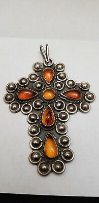 Large vintage sterling silver cross pendant with Amber stones.