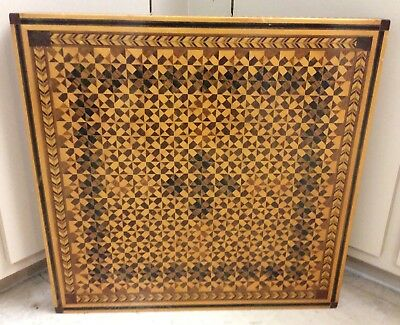 Hand Made Marquetry Inlaid Wood Wall Hanging , Over 11 Lbs, 23 X 23 1/2""
