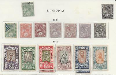17 Ethiopia Stamps from Quality Old Album 1894-1919