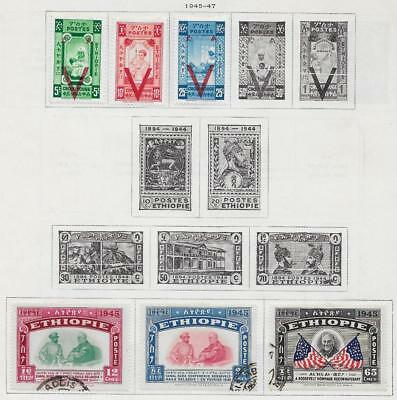 6 Ethiopia Stamps from Quality Old Album 1945-1947