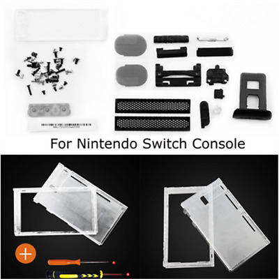 Replacement for Nintendo Switch Console Clear Top+Bottom Shell Case+Screwdriver