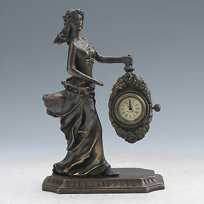 Collectible Old Chinese Brass Handwork Mechanical Table Beautiful Woman Clock