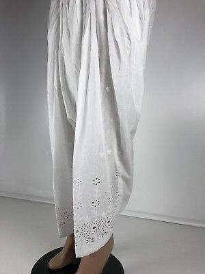 $14.99 Cut Work  White 100% Cotton Full  Patiala Salwar Women Bottom Yoga Pants