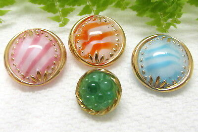 4 Lovely Vintage Moonglow Glass Buttons S107