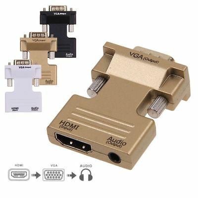 HDMI Female to VGA Male Adapter Converter w/ Audio Cable Support 1080P Output