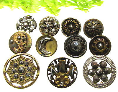 Sparkly Lot Of Victorian Cut Steel Buttons With Different Designs S58