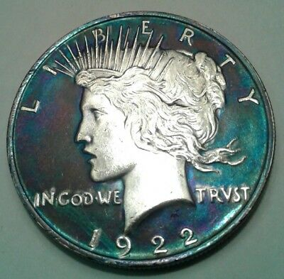 1922 peace dollar beautifully toned.awesome toning must see $