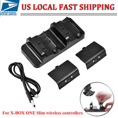 Dual Charging Dock Station 2 Recharge Battery for Xbox One Slim Controller Black