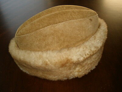 Vintage Shearling SHEEPSKIN Lambskin LEATHER RUSTIC WOOL handmade hat cap Small