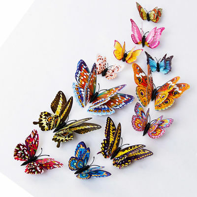 12pcs 3D Butterfly Design Decal Art Wall Stickers Room Magnetic Home Decor Hot