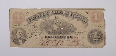 Rare - 1860's Virginia TREASURY Note $1.00 Hand Signed - Over 150 Years Old *459